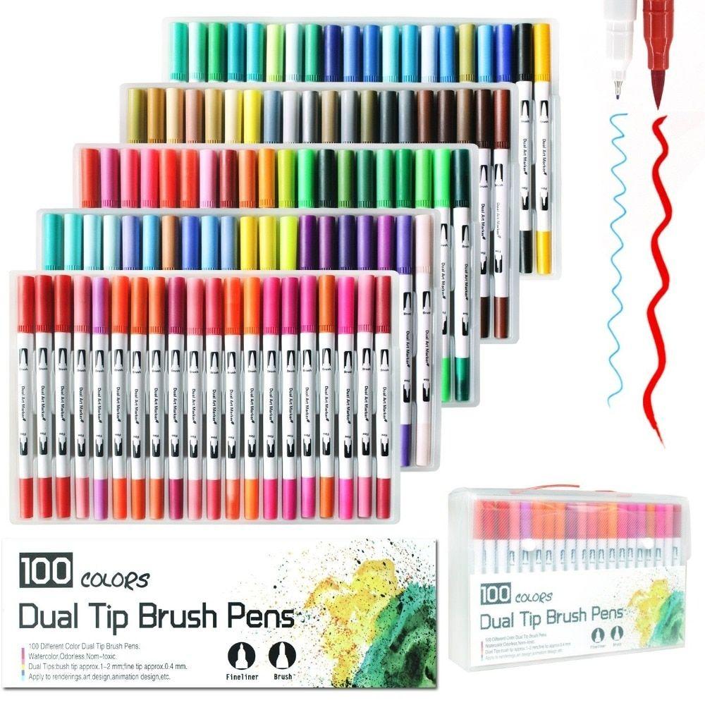 100 Colors Pens Set Watercolor Drawing Painting Brush Artist Sketch Manga Marker
