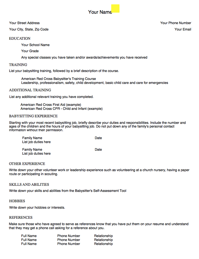 Example Of Babysitting Resume Template http