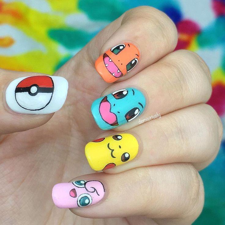 Adorable Pokémon Go manicure! #nailart #pokemon Nail Design, Nail Art, Nail  Salon, Irvine, Newport Beach - Adorable Pokémon Go Manicure! #nailart #pokemon Nail Design, Nail