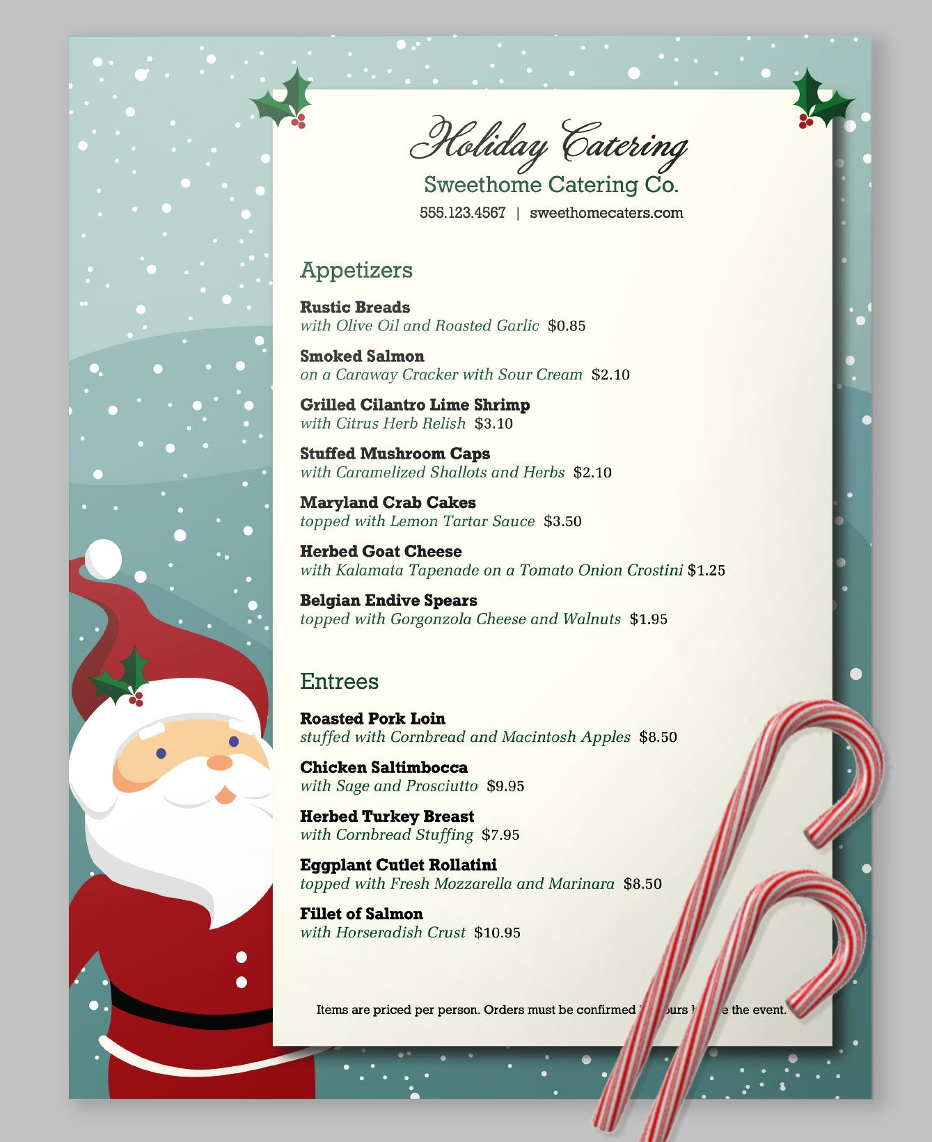 Framed by a sweet Santa and a twilight snowfall, this menu template ...