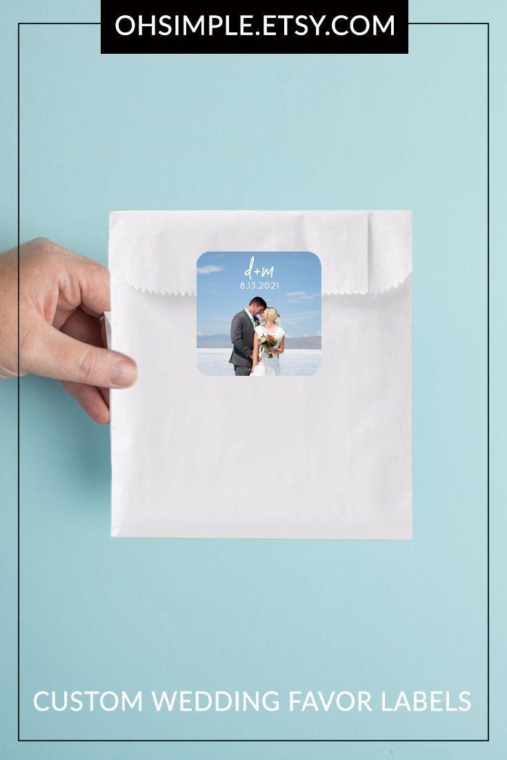 Modern Wedding Favor Stickers Wedding Favor Gift Bag Labels | Etsy