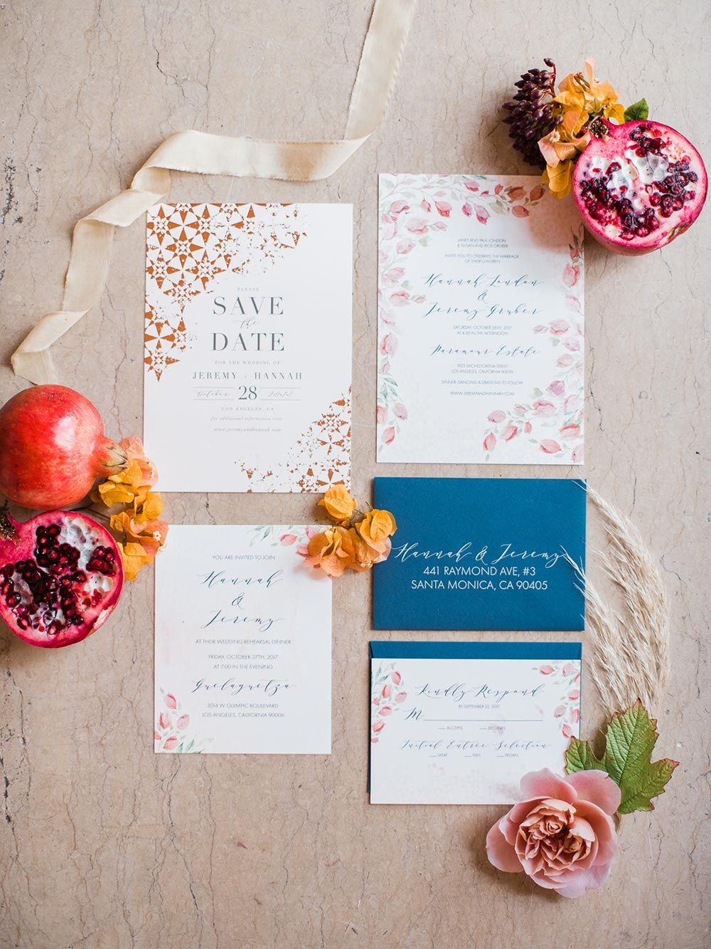 Eclectic LA Wedding with Pomegranate and Caribbean Blue Hues ...