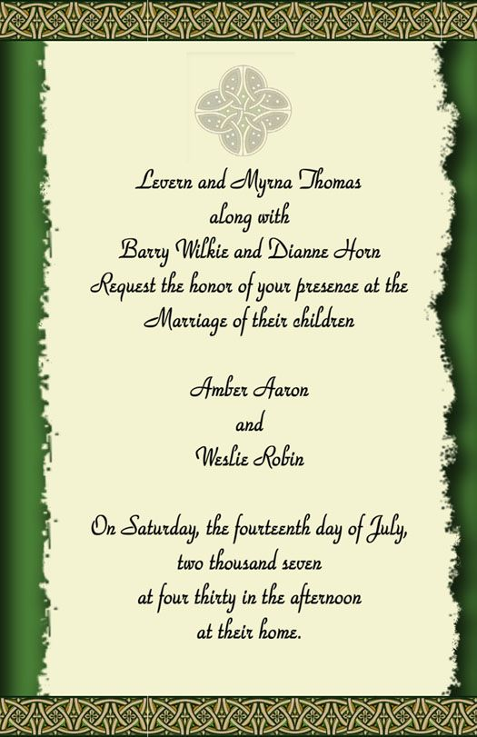 Do It 101 Irish Celtic Wedding Theme Ideas Templates Tutorials Beach Themed Favors Irish Wedding Invitations Celtic Wedding Invitations Irish Wedding