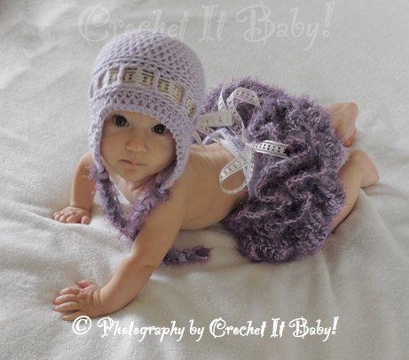 ae028f289ad Crochet Tutu Cute Hat and Tutu Diaper Cover Photo Prop Set - 2 Sizes ...