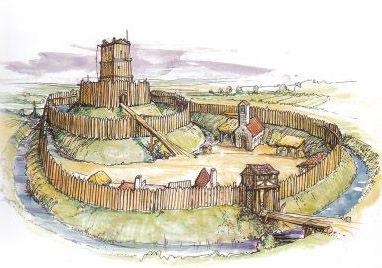 Types Of Castle Pre Norman Wooden Motte Beiley Castle Motte And Bailey Castle Castle Art Castle Illustration