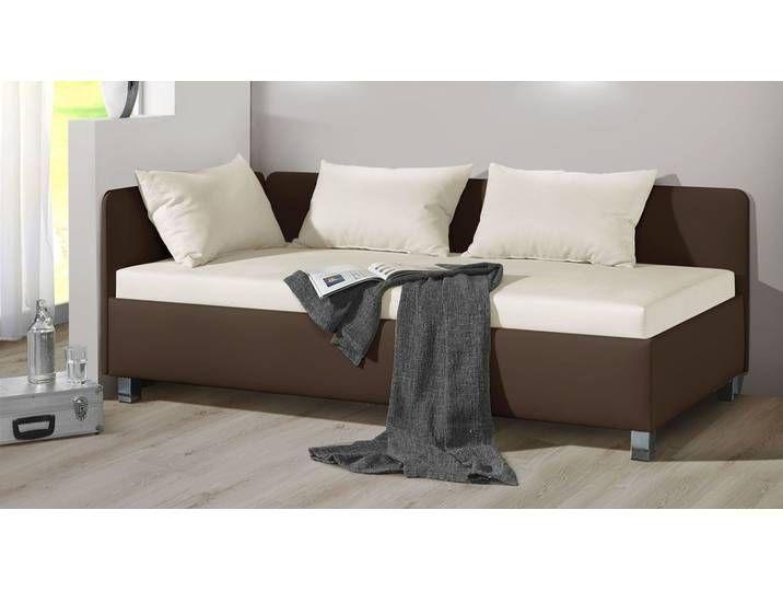 Studioliege mit Bettkasten in 120×200 cm beige – Lisala – Polsterliege
