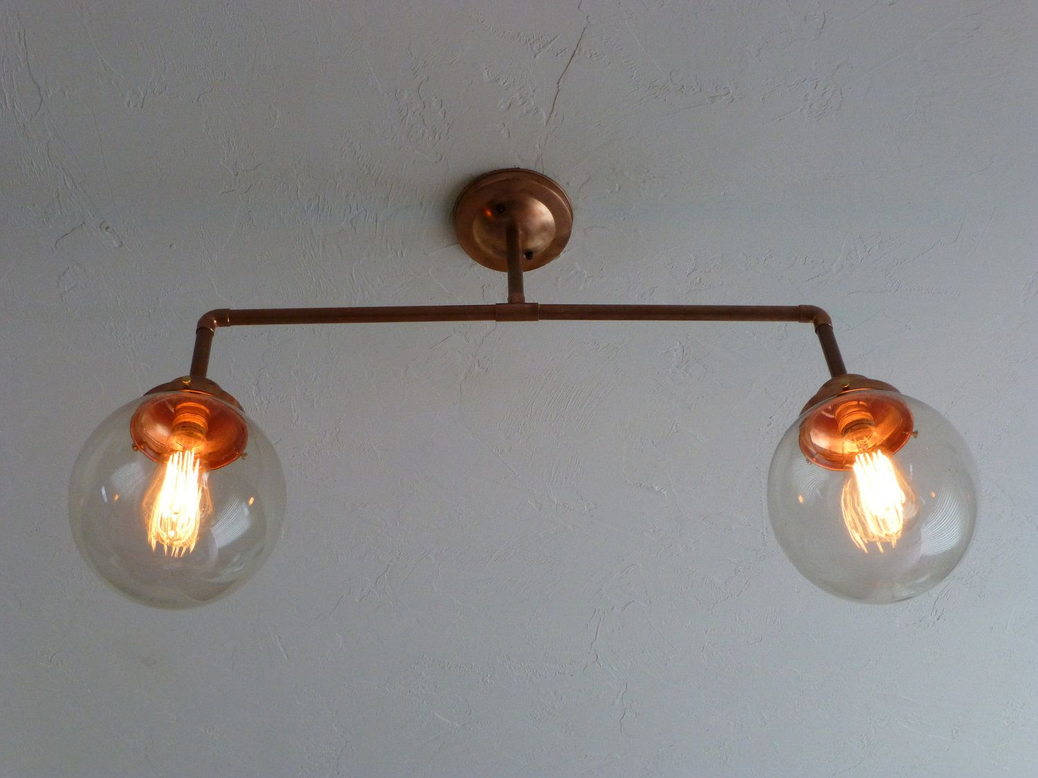 """Copper Chandelier with 8"""" Hand Blown Glass Globes"""
