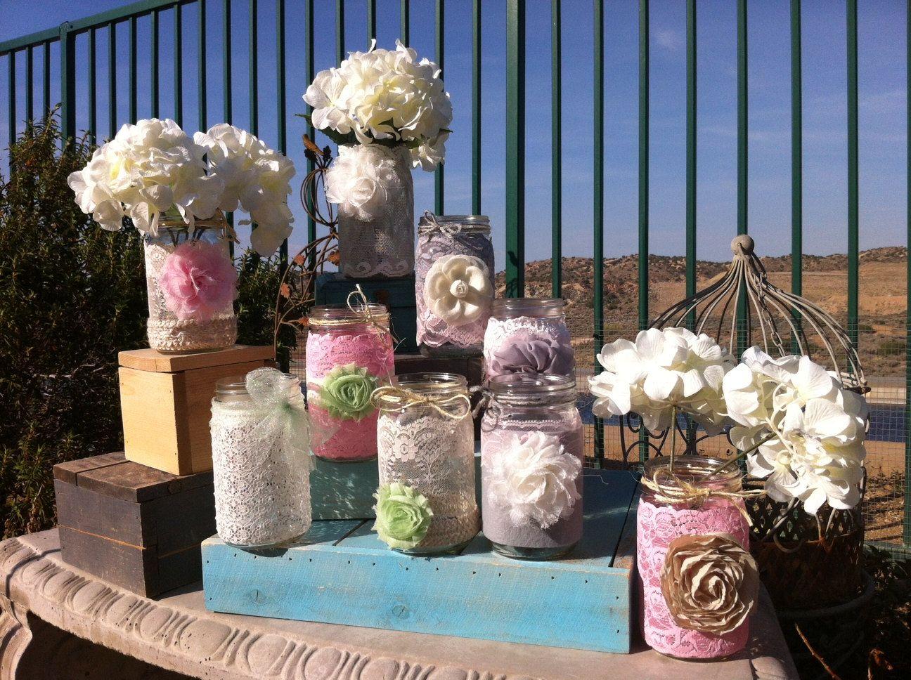 Shabby Chic Wedding Table Decorations Decor 18 Vintage Lace Mason Jars Lanterns Vases