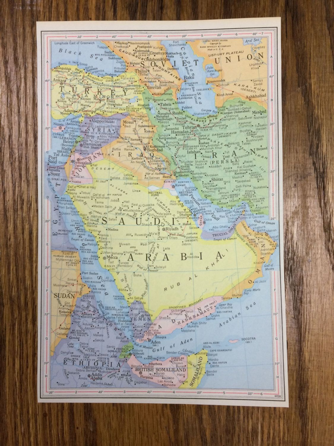 Saudi arabia large map 1959 space age world atlas antique rand 1959 saudi arabia large map 1250 use pin10 at checkout for 10 off gumiabroncs Images