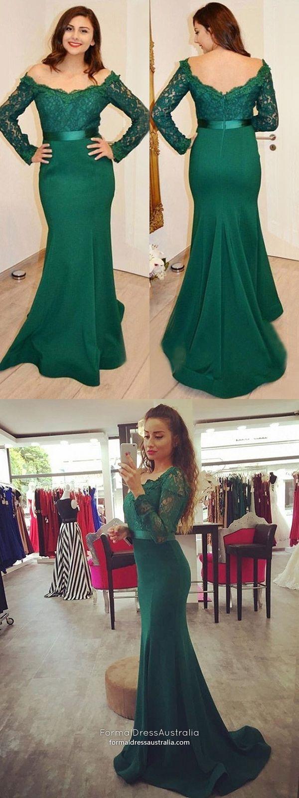 Long formal dresses mermaid dark green prom dresses with sleeves