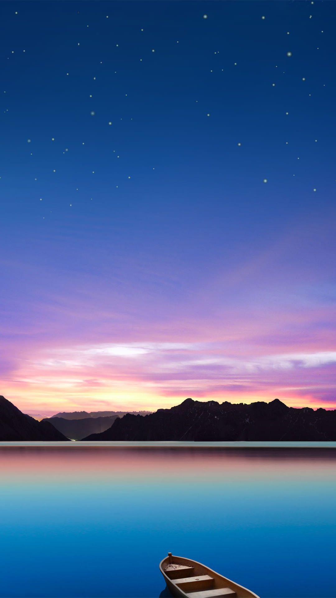 湖に浮かぶボートと星空 iPhone6 Plus 壁紙 Check http://www.