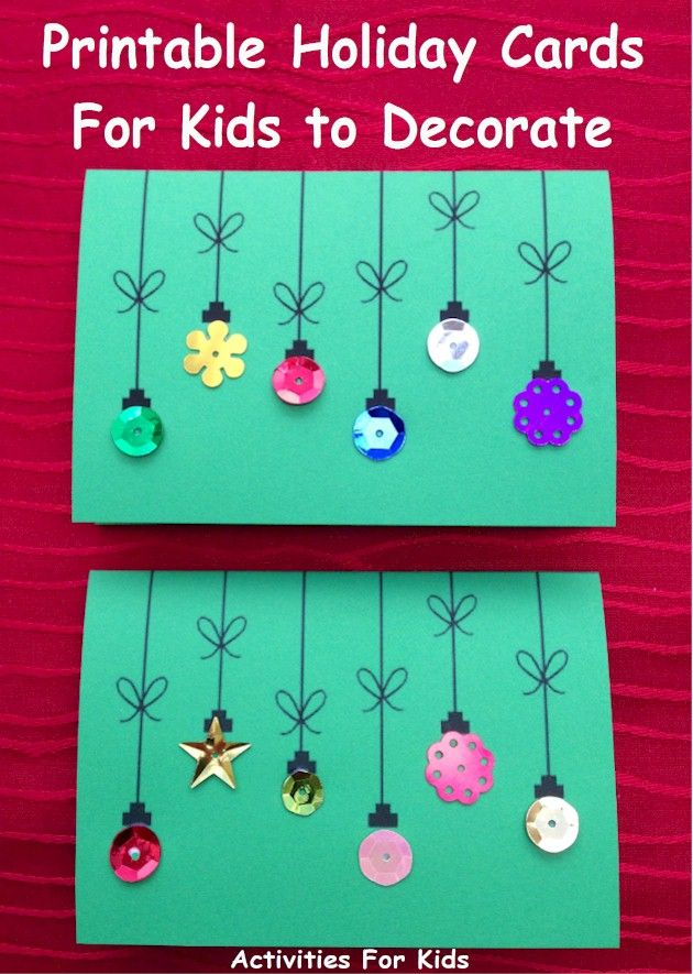 Printable Holiday Ornament Cards for Kids | Christmas Crafts for ...