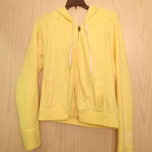 AE zip up hoodie Yellow zip up with a hood. Worn a few times so the top of the sleeves are slightly stained. Very good condition. Feel free to make an offer! American Eagle Outfitters Jackets & Coats Utility Jackets
