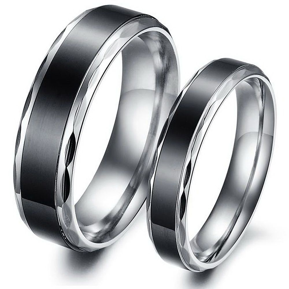 6d51efd89fb0f Details about Stainless Steel Couples Black Fashion Engagement ...