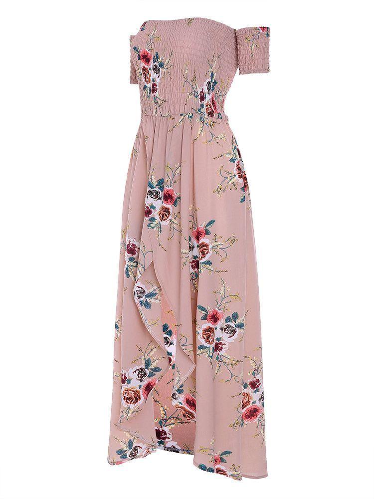 37a57ec384334 Floral Print Off-shoulder Slit Hem Short Sleeve Maxi Dress For Women ...