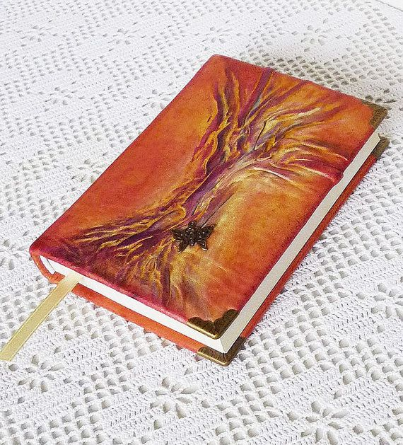 Wish book handmade hand painted personalised customisable vintage notebook: Butterflies wooden cover