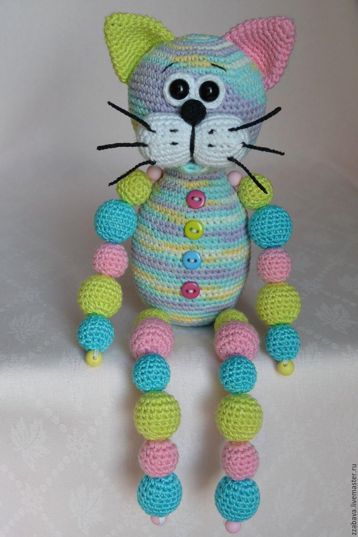 Кот Кругляш нежный с бусинами игрушка вязаная крючком ...
