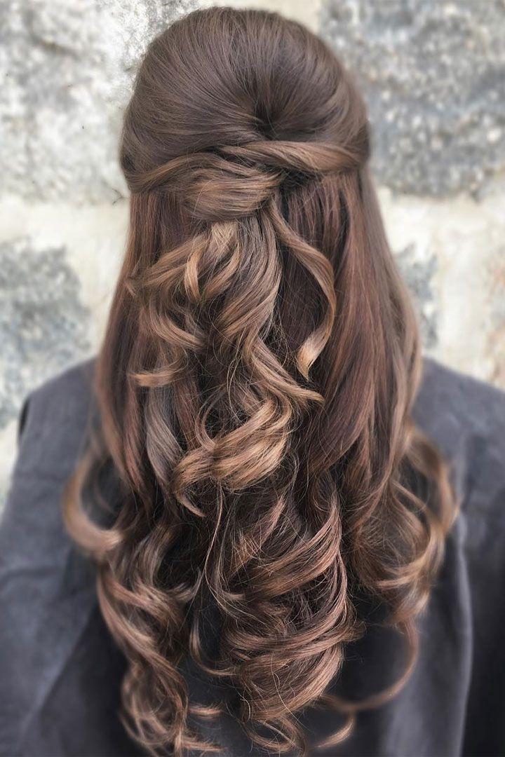 Photo of Pretty half up half down wedding hairstyle idea