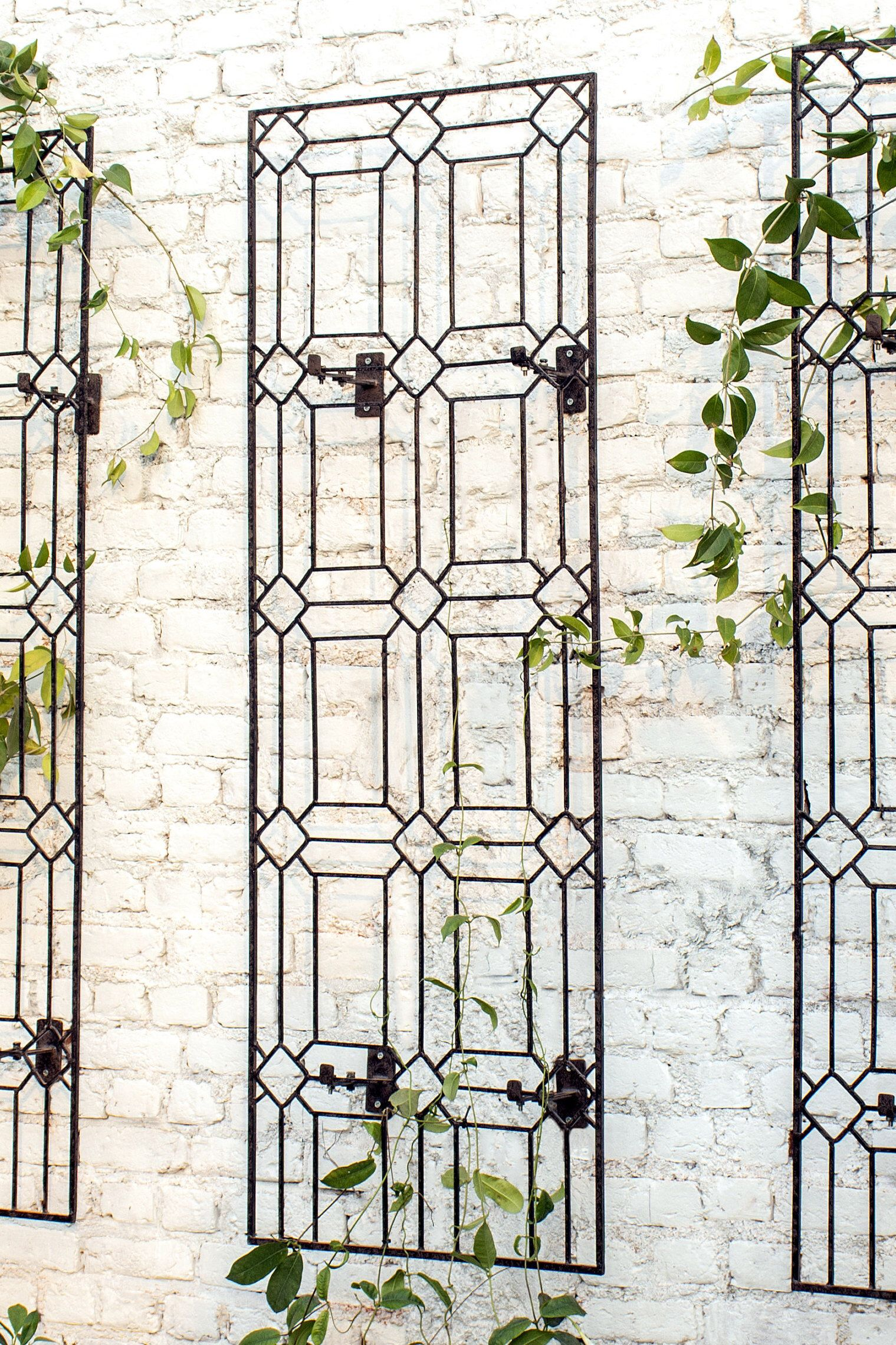 Wall Art Large Diamond Trellis With Brackets Metal Garden Wrought