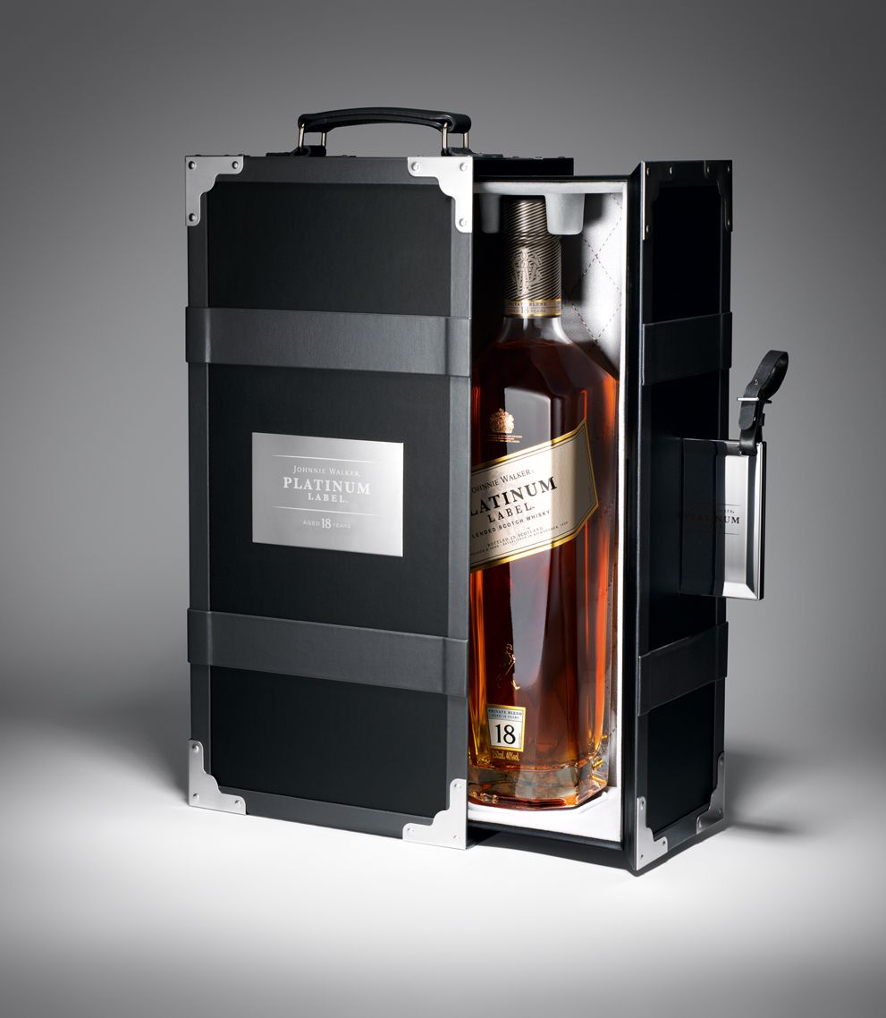 This is a graphic of Punchy Johnnie Walker Blue Label Case