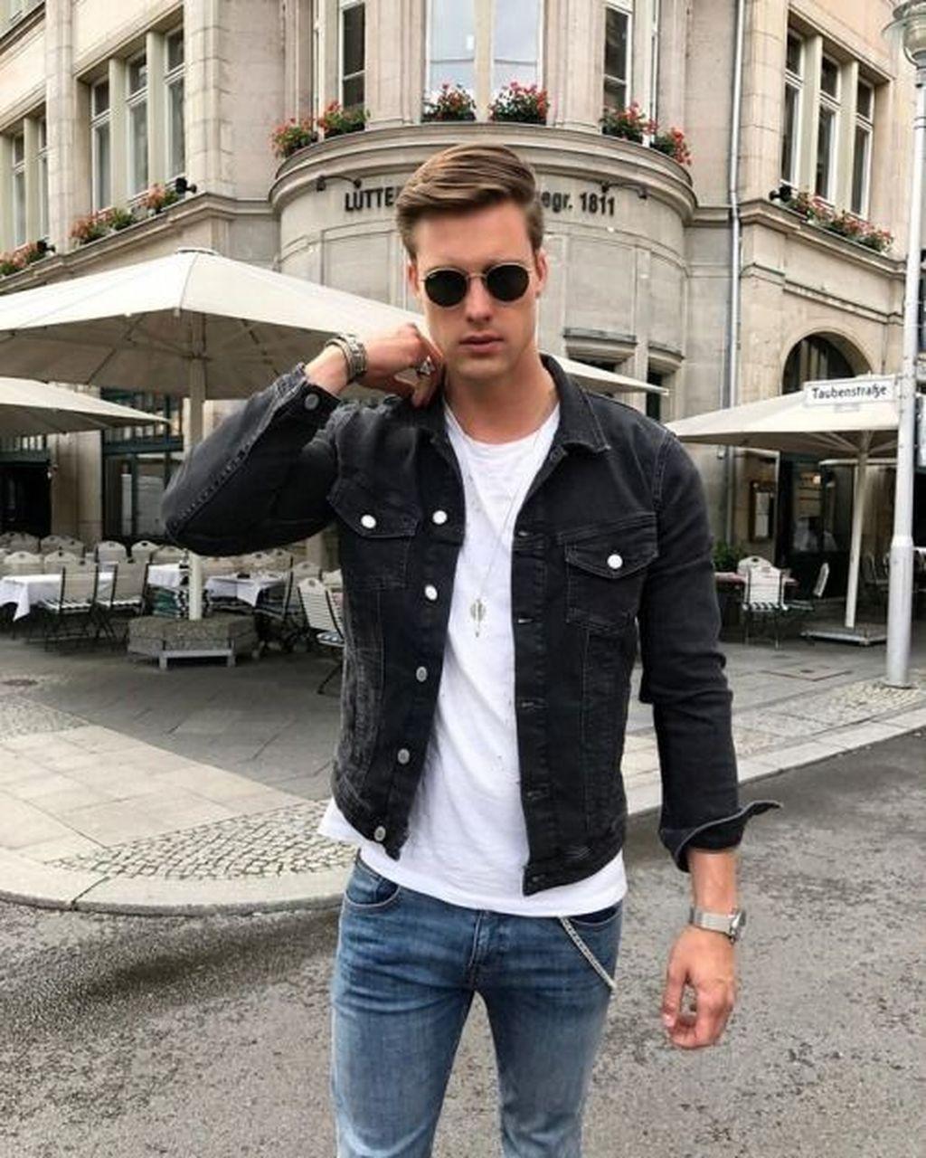 20 Elegante Mens Stili Di Moda Utilizzando Denim Giacche Stylish Mens Fashion Black Denim Jacket Men Denim Jacket Men [ 1280 x 1024 Pixel ]