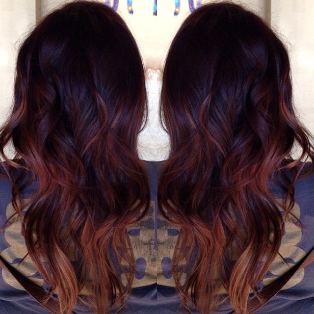 Dark Red And Balayage Highlights And Teasing Ombre Mixed Together Hair Styles Hair Color Balayage Auburn Balayage