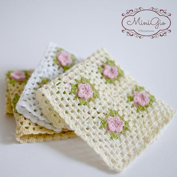 1:12 Dollhouse miniature crochet blanket with little pink flowers ...