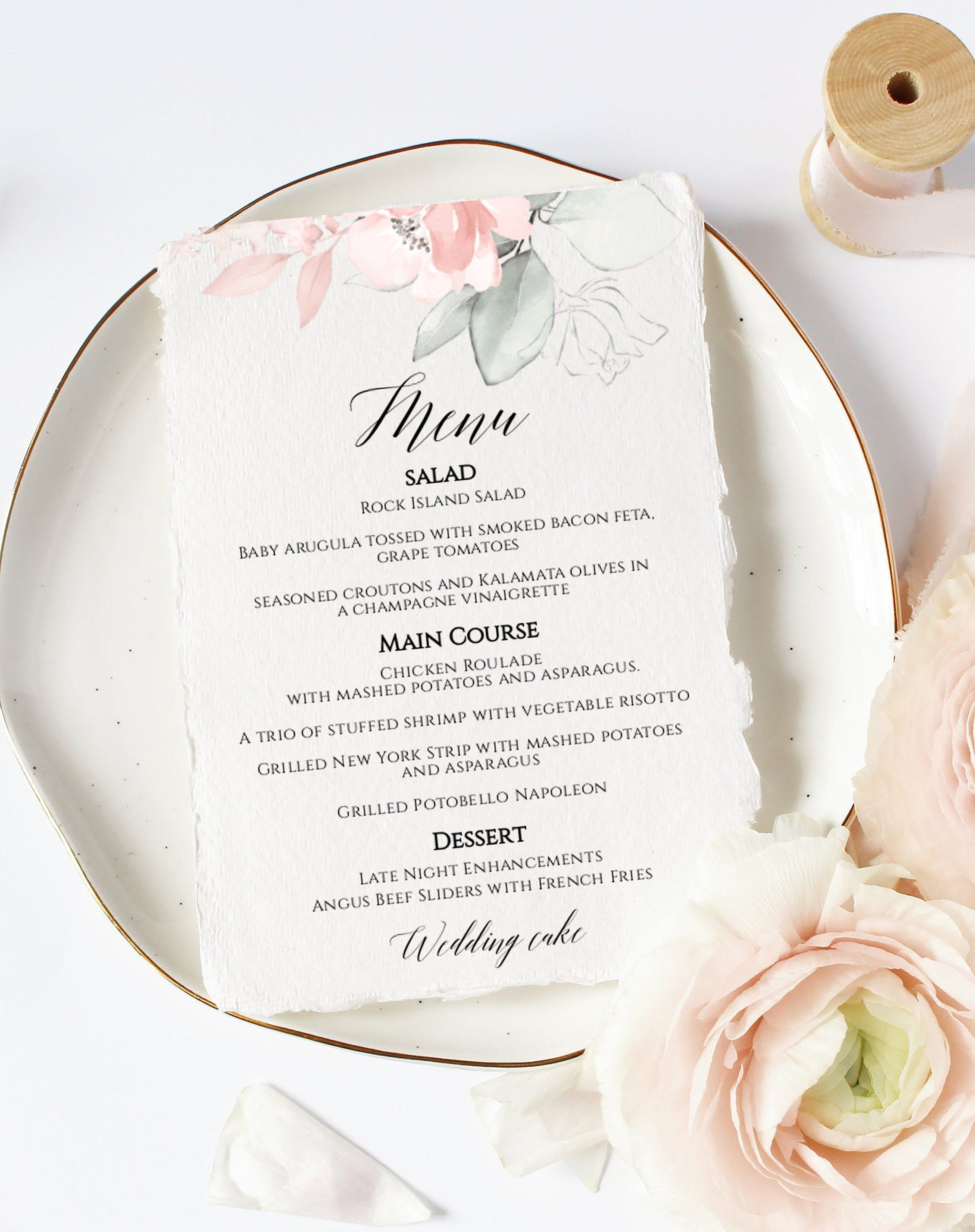 Menu Template Wedding Menus Printable Menu Template Etsy Bridal Shower Menu Printable Menu Template Menu Template
