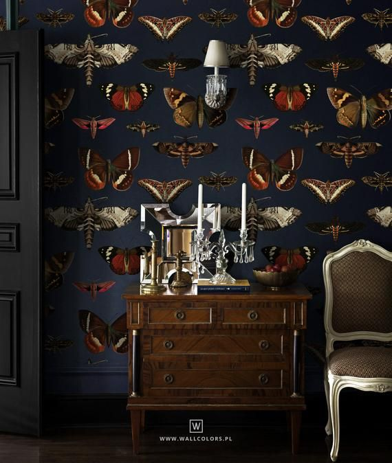 Vintage wallpaper, moths and butterflies pattern,