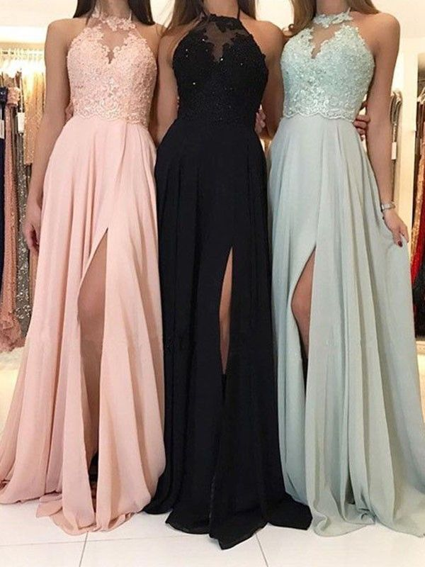 Sweep/Brush Train A-Line/Princess Sleeveless Halter Chiffon Dresses #jurken