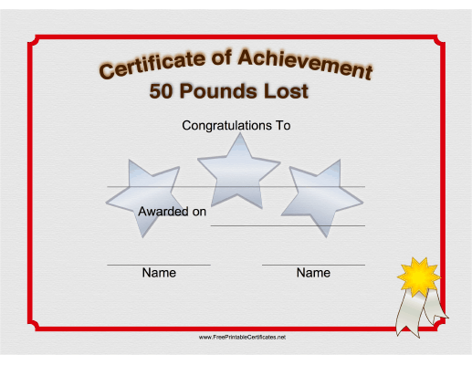 This Printable Certificate Congratulates Someone On The Loss Of 50 Pounds Free To Download And