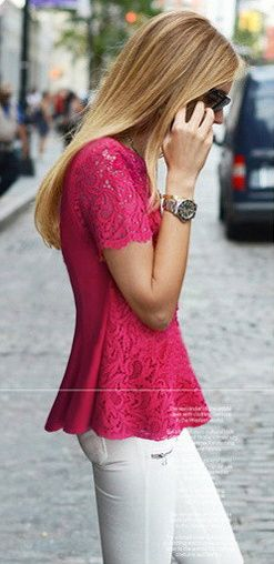Pink #Lace #Top from 35-24-35.tumblr.com | ╬Street Fashion ...