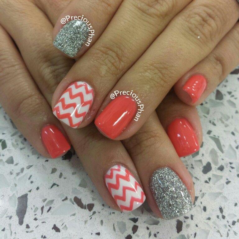 Coral Color Nail Designs: Chevron Glitter Spring Nails