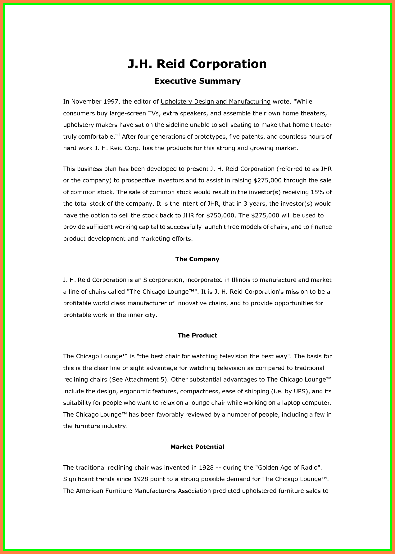6 An Example Of Business Plan