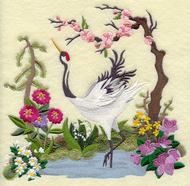 Japanese Crane Scene Machine Embroidery Library Pinterest