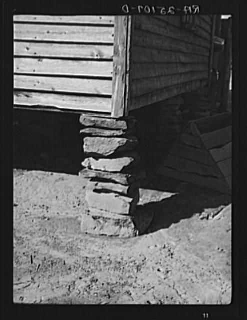 Foundation of tenant farmer's house. Walker County, Alabama. Taken by Arthur Rothstein in February 1937