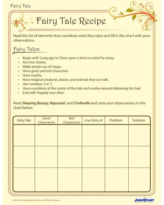 fairy tale recipe free printable english worksheet for kids fairy tales folk tales fairy. Black Bedroom Furniture Sets. Home Design Ideas
