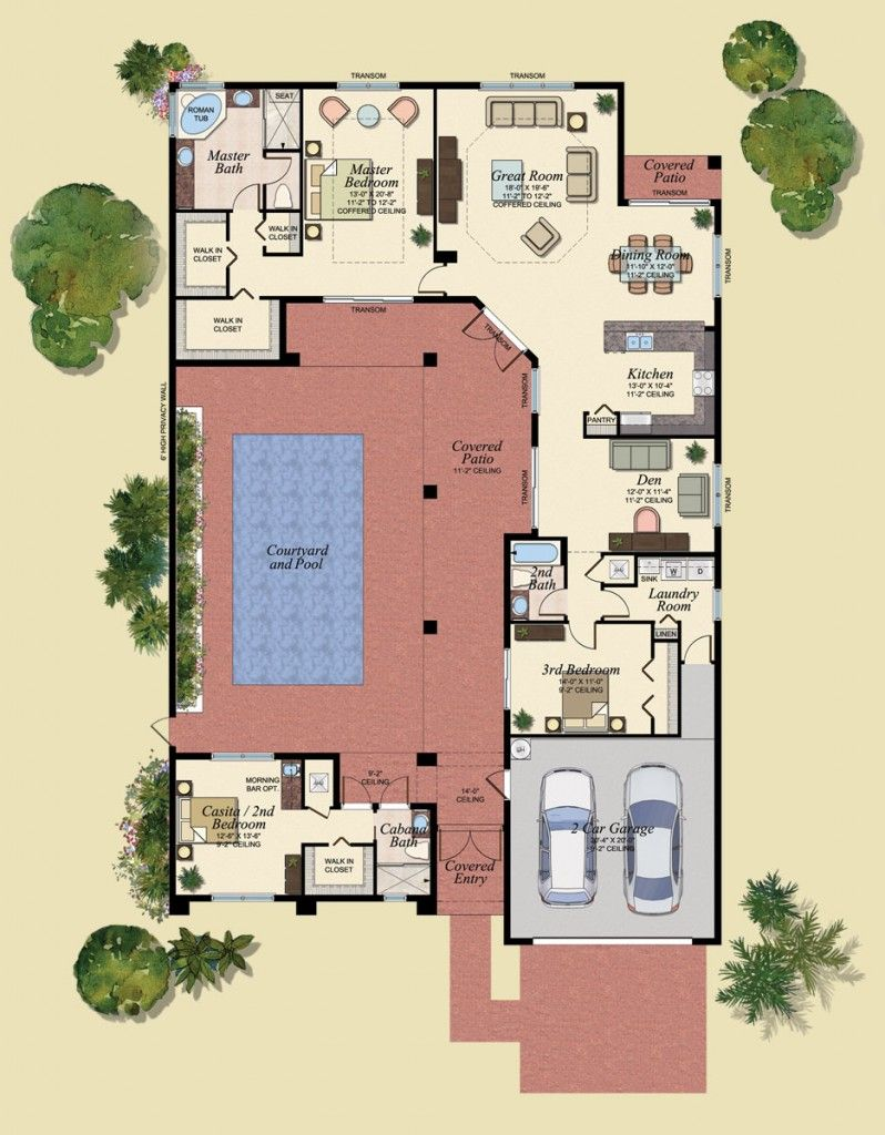 courtyard homes with pools | Pool House Plan New Courtyard Home ...