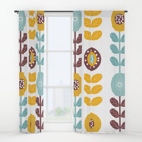 Retro Window Curtains Flower Window Curtains Retro Drapes