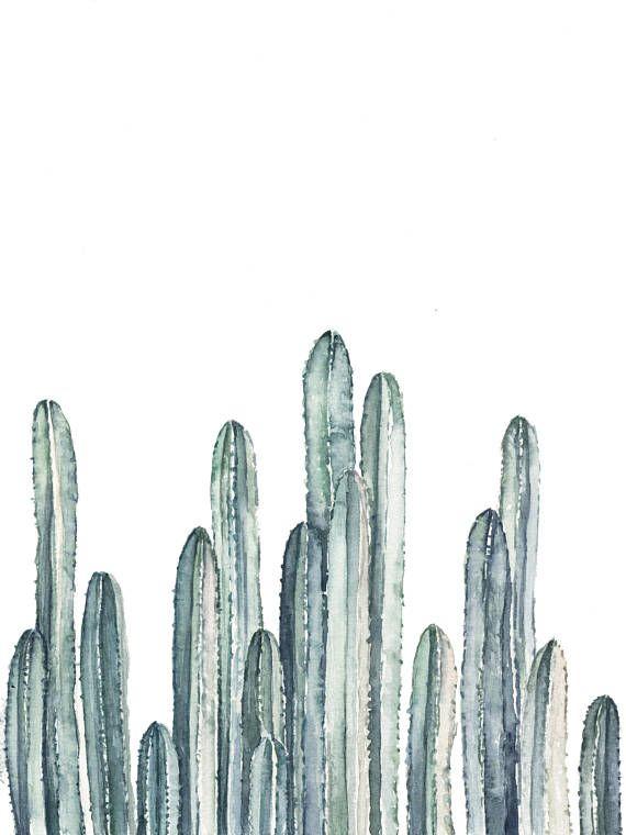 Cactus Row No 3 Art Print  Teal Cacti  cactus painting  | Etsy