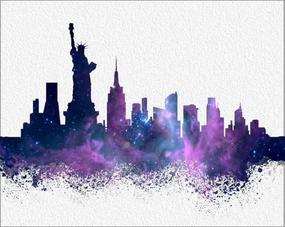 New York Watercolor Art Print 8 X 10 New York By Imagedesignstudio Arte De Acuarela Arte Del Paisaje Urbano Dibujos Botanicos