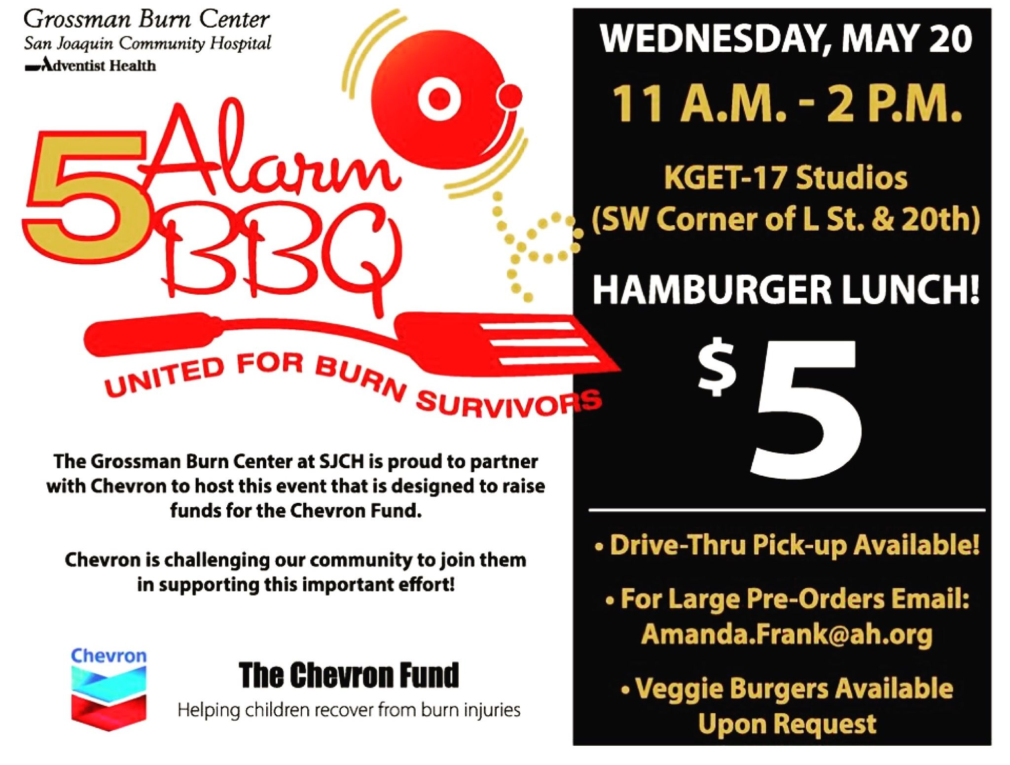 5 For A Hamburger Lunch Today And It Benefits Child Burn Victims Join Ccs And Support This Great Cause By San Joaquin Community Hospital Bakersfield Joaquin