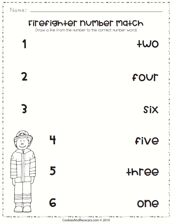 Firefighter Number Match Worksheet Is Great For Learning Number And Word Association Included In The Free F Learning Numbers Fun Worksheets Firefighter Number