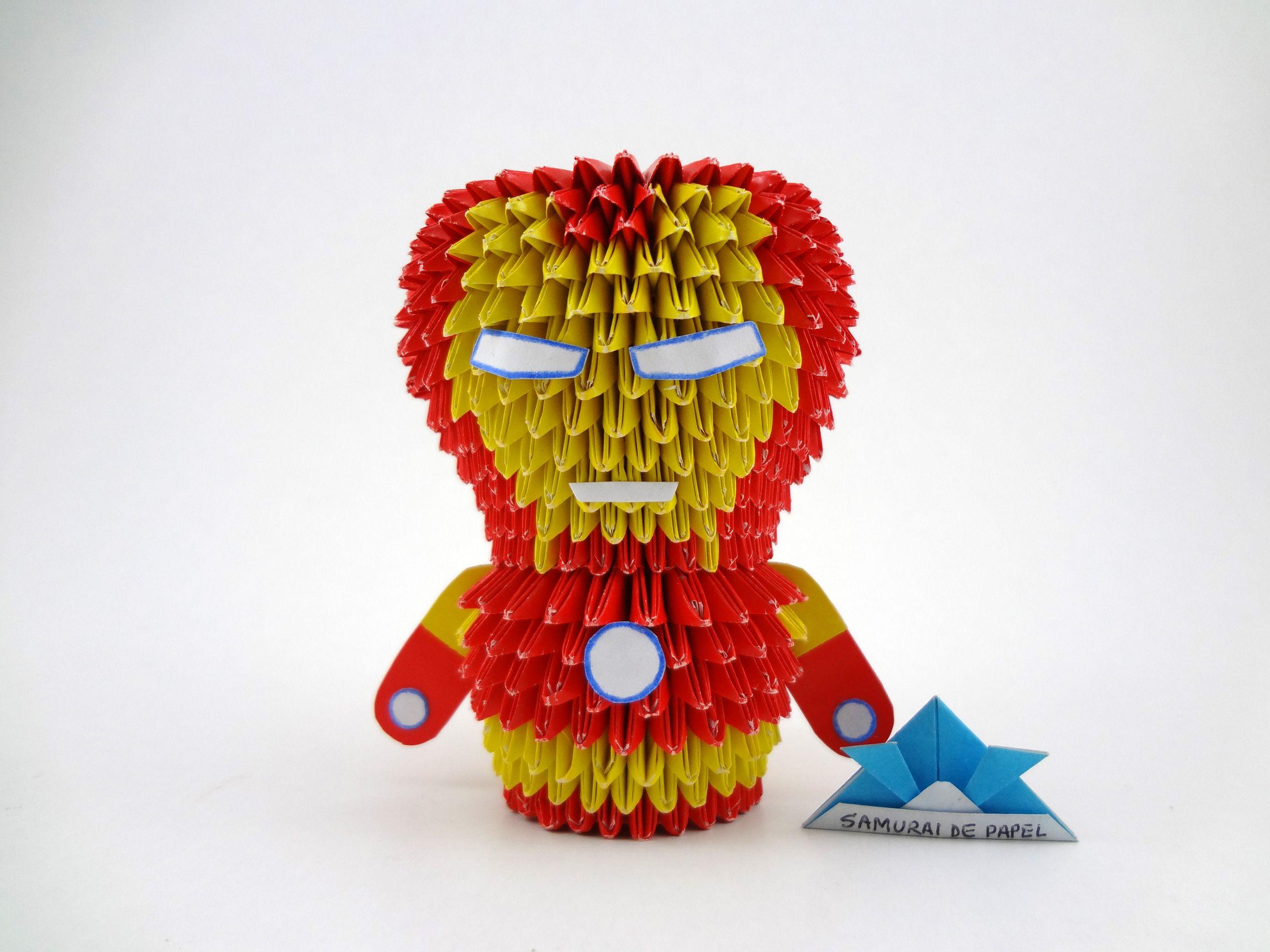 Origami 3d Iron Man The Avengers Arte De Origami Origami 3d Origami Modular