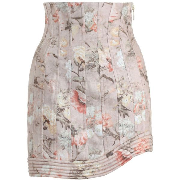 ZIMMERMANN Bowerbird Corselet Skirt (1.875 BRL) ❤ liked on Polyvore featuring skirts, zimmermann, floral knee length skirt, zimmermann skirt, high waisted floral skirt and flower print skirt