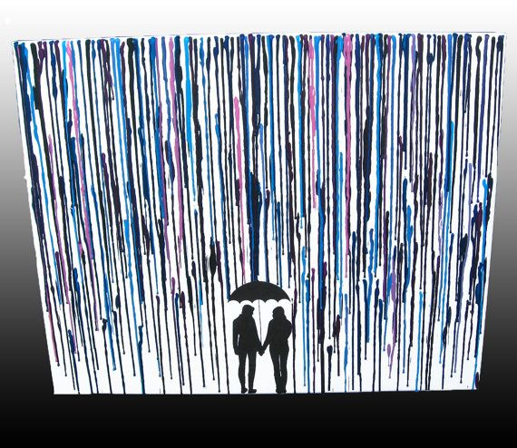 Melt Crayon Art Wax Painting Two Girls LGBT Lesbian Gift Melted Couple Silhouette In The Rain Umbrella 16x20