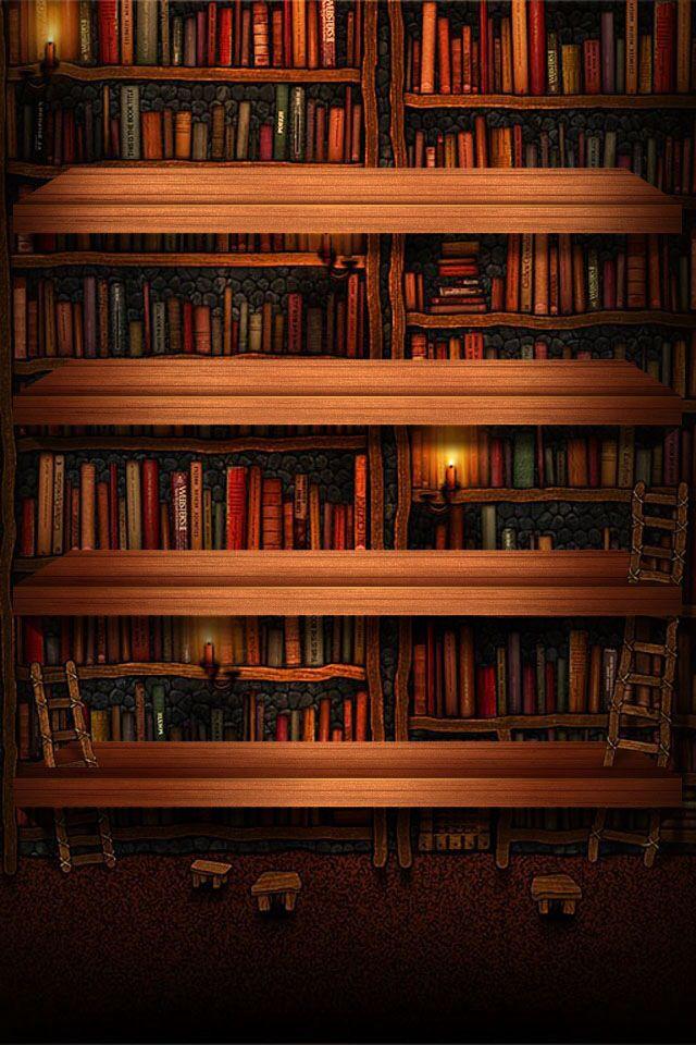 Bookshelf Wallpaper nel 2019 Libri