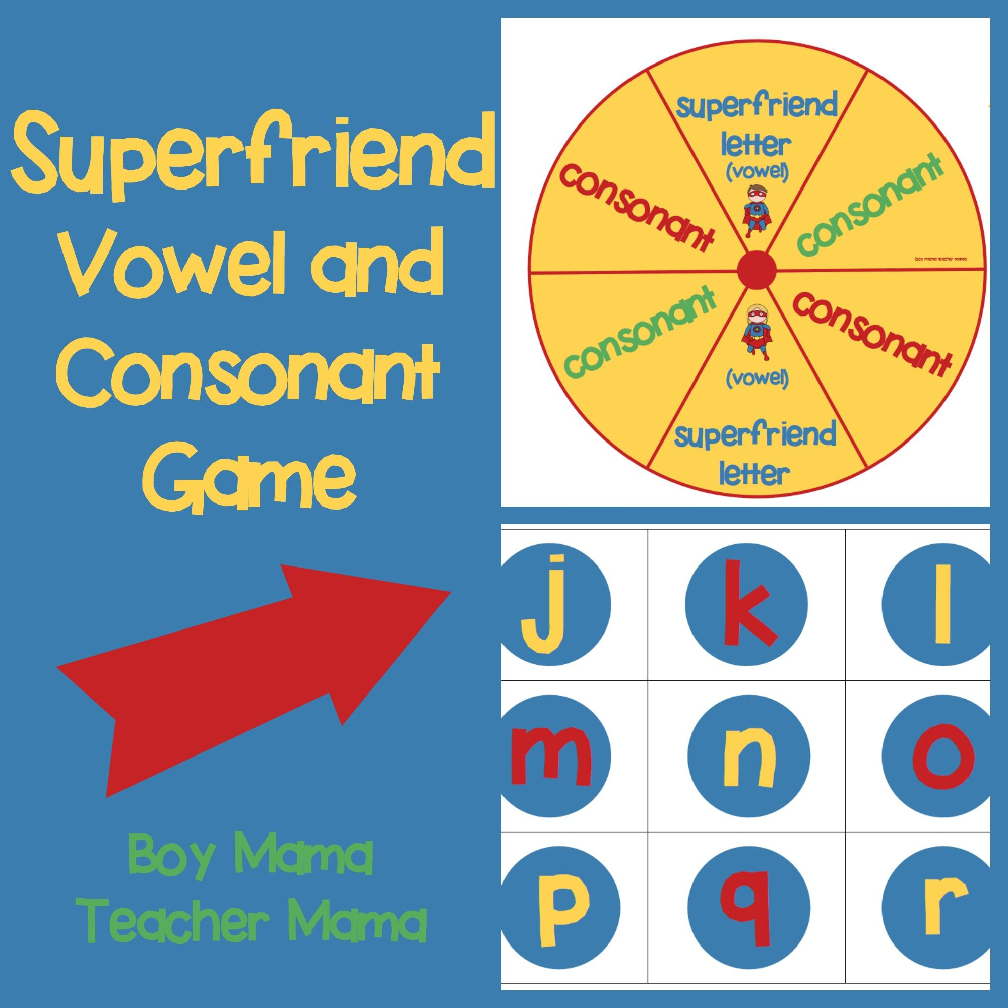 Teacher Mama: Superfriend Vowel Consonant Game | Alphabet Fun ...
