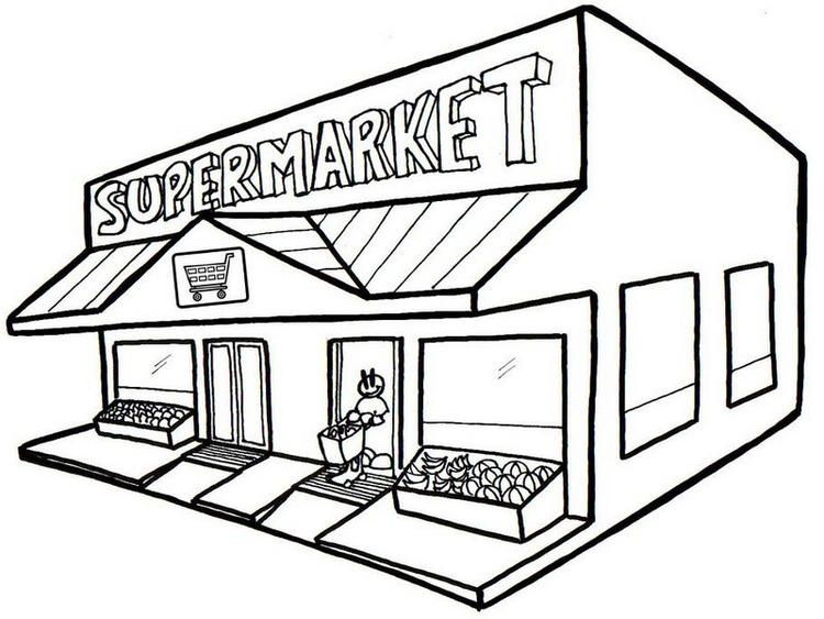 Best Grocery Store Coloring Page Clipart Black And White Clip Art Coloring Pages