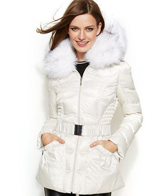 Laundry by Shelli Segal Faux-Fur-Hooded Belted Down Puffer Coat